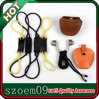 Wholesale 4 in Genuine Cow Leather Steel Ball Ammo Pouch Elastica Replacement Rubber Bands Holster Holder Slingshot Catapult
