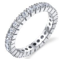 Wholesale Size Womens White Clear Sapphire Overlay KT White Gold Filled Wedding Ring Band Gift