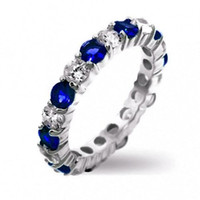 Wholesale Size Exclusive Bridal inspired Women s White amp Blue Sapphire KT White Gold Filled Ring Band