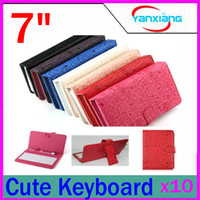 """Keyboard Case 7'' 7 inch DHL 10PCS Universal Cute Faerie Leather Stand Case USB 2.0 Keyboard Case for 7"""" Tablet RW-L11-117"""
