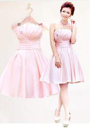 New Cheap Light Pink Strapless Elegant Sleeveless Lace-up Ruffle Beading Satin Mini A-Line Bridesmaid Dresses Wedding Party Dresses