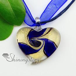 heart glitter swirled handmade murano glass lampwork necklaces pendants Handmade Ladies italian venetian blown jewelry Mup2002HY5