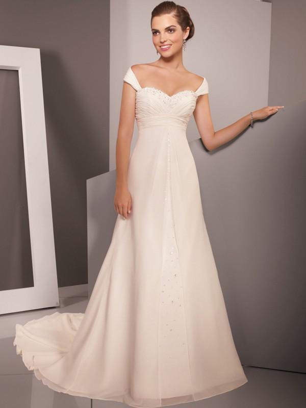 Simple Off Shoulder Garden Wedding Dresses Back Zipper