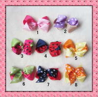 Wholesale New five pointed star bicolor bow flower Edge clip hairpin hair hoop headband hair ornaments accessories