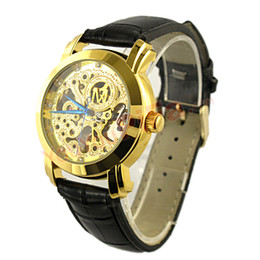 Free Shipping Mens black leather Gold Skeleton Hand Wind Mechanical Watch, Dress for men women Watches