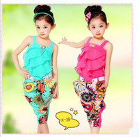 Wholesale 2013 Hot Baby Girls Pretty Chiffon Set Suspender Flounced Metal Ornament Embellished Tops Middle Length Printed Pants With Belt