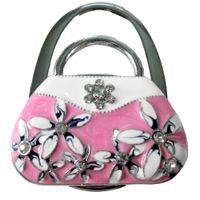 Wholesale Purse hook purse hanger handbag table hook folding holder Hand bag shape with Rhinestone Enamel FLOWER with retail packing pink