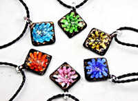 Wholesale 2013 New Romance Fashion Square Shaped D Flower Gold Dust Murano Glass Retro Pendant Necklace Handmade Jewelry Mix Color BS036
