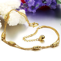 Wholesale fashion gold plated anklet Indian style beads ankle chain adjustable with bells popular jewelry