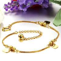 Wholesale Indian Popular Anklet Fashion Jewelry K Gold Plated Box Chain Heart Charms