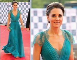 Wholesale Hot Kate princess Green Celebrity Dresses Prom dresses Lace Chiffon V neck Evening Party dresses FL202