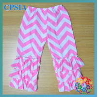 Wholesale Pink Chevron pants ruffled Children pants New arrival toddler girl clothes In stock