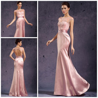 Trumpet/Mermaid sequin appliques - Best selling Bateau Trumpet Full length Elastic satin hollow back Peach Formal evening dresses Fancy Prom gowns sexy pageant dress party