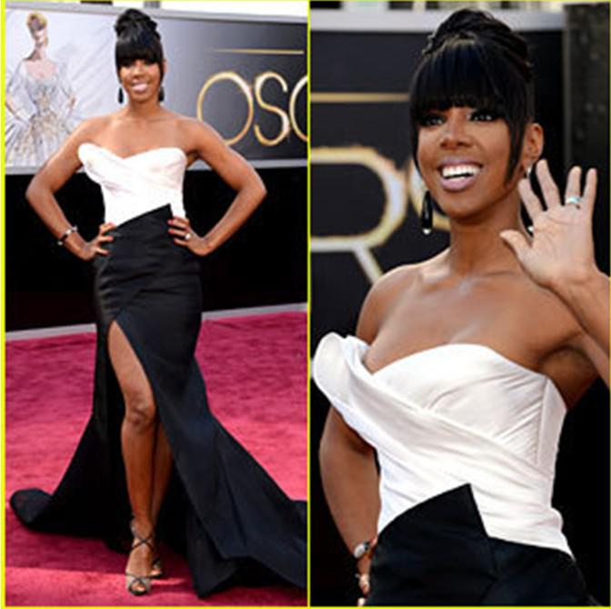 Black/White Satin 2013 Oscar Celebrity Dresses Red Carpet Prom ...