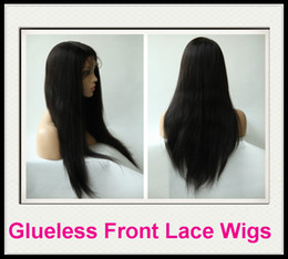 Wholesale Rani Hair Real Images Brazilian Remy Human Hair Glueless Front Lace wig Inch Silky Straight B off Black High Quality DHL Free C035