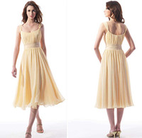 Wholesale Custom Made Pleated Summer Beach Chiffon Spaghetti Strap Tea length Bridesmaids Dress Wedding Party Gown Dresses RL4187