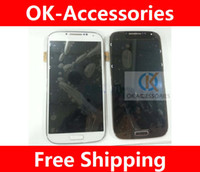 For Samsung LCD Screen Panels White Blue White Blue Color Touch Screen Digitizer+LCD with frame For Samsung I9500 Galaxy s4 1pcs lot Free shipping