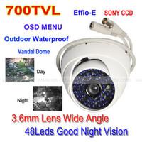Wholesale 700TVL Sony CCD Effio E LED OSD Menu CCTV Vandal White Dome Camera Wide Angle DHL ship
