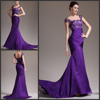Wholesale Discount Cheap Purple Mermaid Evening Gown Mother Of The Bride Dress Formal Gown Chiffon Lace Top