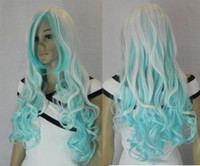 Wholesale COSPLAY new white blue long curly wig L000