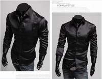 Formal Men Polyester 2015 business shirts mens long shirt Silk shiny collar shirt denim shirt long sleeved shirt men designer dresses new fashion 2013
