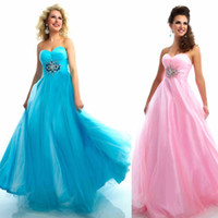 Wholesale Seductive a line sexy sweetheart party dress net beaded acrylic zipper strapless custom made classic floor length prom dresses
