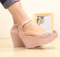venda por atacado sapatos melissa-2013 moda cabeça de peixe sandálias cunhas melissa das mulheres aumentou botas de chuva de verão Sandálias ocas sapatos Ninho de Pássaro inclinação feminina