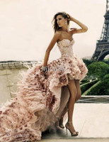 Wholesale High low Short Front Long Back Zuhair Murad Wedding Dress Feather Lace Up Corset real picture