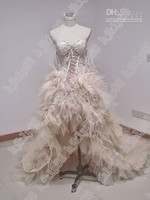 Wholesale High low Short Front Long Back Zuhair Murad prom Dress WeddingDress Feather Lace Up Corset real picture