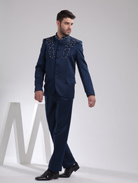 Wholesale Elegant Deep Blue Embroidery Worsted Wedding Suit For Men beach u6 a