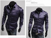 Casual Men Polyester 2015 mens slim fit shirts long silk shiny shirts for men mens dress shirts designer