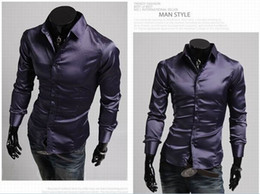 Wholesale 2015 mens slim fit shirts long silk shiny shirts for men mens dress shirts designer