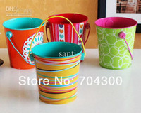 tin trash cans - Small tin bucket Brush pot Insert cylinder desktop trash can pattern case wedding favor