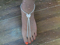Wholesale nature shell butterfly bead barefoot sandals stretch anklet chain with toe ring pieces Retail shell butterfly anklet Free by China post