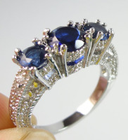 Wholesale Engagement style Lady s Three stone Blue Sapphire Gemstone KT White Gold Filled Ring Size Gift