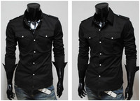 Casual Men Polyester 2013 new fashion black mens shirts long silk shiny shirts for men mens dress shirts designer