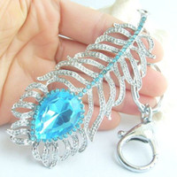 Wholesale Pretty Peacock Feather Key Chain Pendant w Blue Rhinestone crystals KYS05102C2