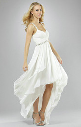 Wholesale Short Front Long Back Beach Wedding Dresses V Neck Chiffon Beaded Strap Ruched Gown Full Length