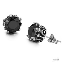 Wholesale Fashion Jewelry Cool Men s Stud Earrings big diamond CT black charm L stainless steel PIN