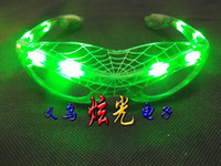 Wholesale BRAND NEW LED toys Halloween Christmas supply Party bar Spider Man Flashing Light Up Glasses