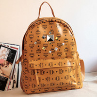 Wholesale MCM package shipping deer Han College Wind shoulder bag backpack schoolbag school bag rivet tide