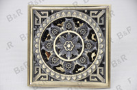 Wholesale 2014 bathroom copper anti odor floor drain belt stainless steel filter mesh fashion carved antique rustic K