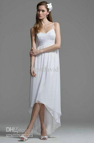 Short Front Long Back Beach Wedding Dresses 2013 V Neck Chiffon ...