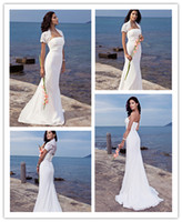 Cheap Sexy 2013 Beach Wedding Dresses Sheath Strapless Chiffon Destination Bridal Gown with Lace Jacket