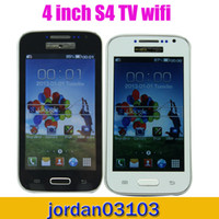 Wholesale New Model i9500 S4 TV Wifi quot Mobile Phone Resistive Screen GSM Quad Band Unlocked Dual SIM Cell phone