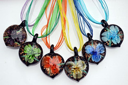 Heart Multi-Color Lampwork Murano Glass 3D Lucky Flower Pendants Necklaces Silk Cord 6pcs lot New NL9