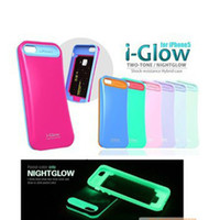 Wholesale i Glow iglow Hybrid Luminous Noctilucent Ring Phone Protector skin Night Lights Case Cover Shell For iPhone th s iPhone5