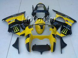 Yellow moto-gp custom paint fairings for KAWASAKI Ninja ZX6R 636 00-02 ZX-6R 2000-2002 00 01 02 ZX 6R 2000 2001 2002 fairing kit