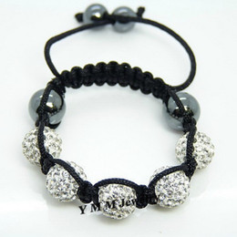 Wholesale 5pcs Children's Bracelet White Disco Ball Shamballa Bracelet Black Cords Free Shipping