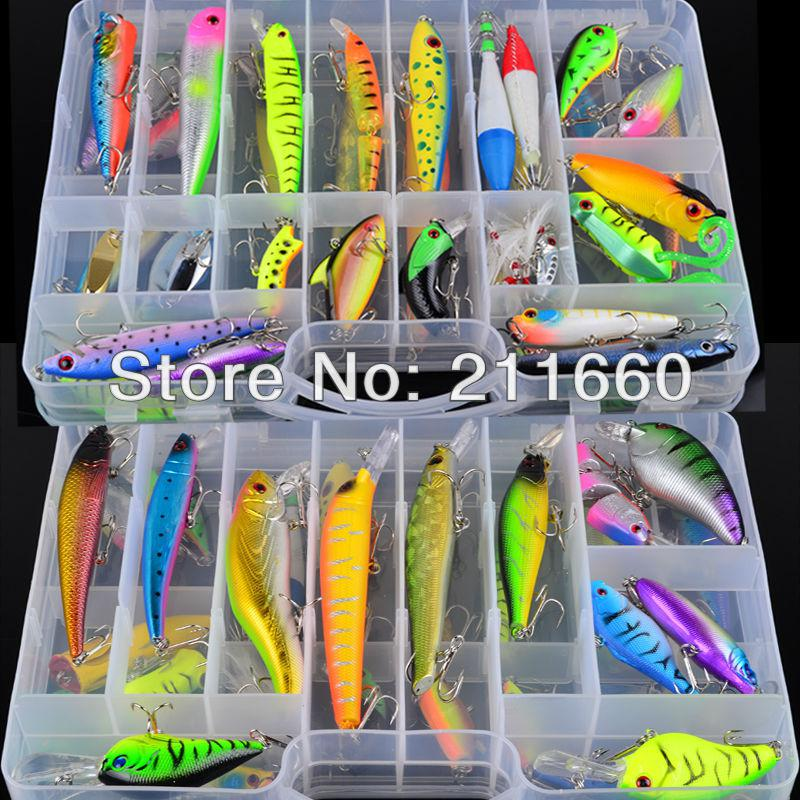 hot sell! plastic fishing lures set with big 2 layer retail box, Soft Baits